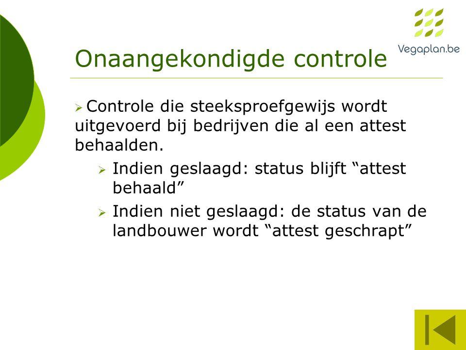 Onaangekondigde controle  Controle die steeksproefgewijs wordt uitgevoerd bij bedrijven die al een attest behaalden.