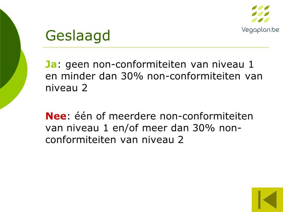 Geslaagd Ja: geen non-conformiteiten van niveau 1 en minder dan 30% non-conformiteiten van niveau 2 Nee: één of meerdere non-conformiteiten van niveau 1 en/of meer dan 30% non- conformiteiten van niveau 2