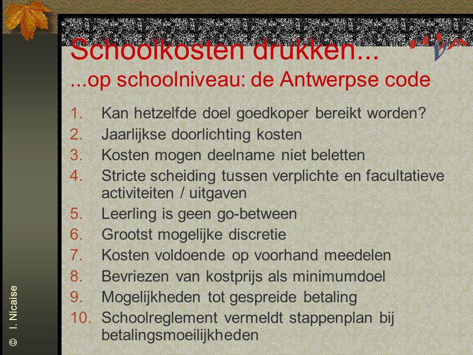 Schoolkosten drukken......op schoolniveau: de Antwerpse code 1.Kan hetzelfde doel goedkoper bereikt worden? 2.Jaarlijkse doorlichting kosten 3.Kosten