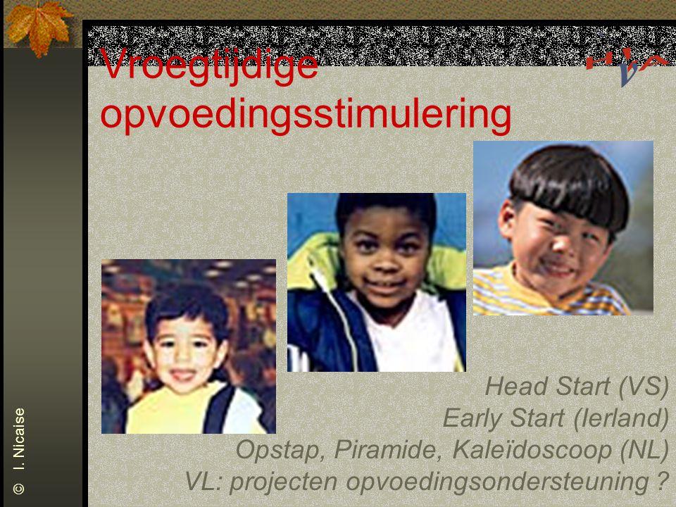 Vroegtijdige opvoedingsstimulering Head Start (VS) Early Start (Ierland) Opstap, Piramide, Kaleïdoscoop (NL) VL: projecten opvoedingsondersteuning ? ©