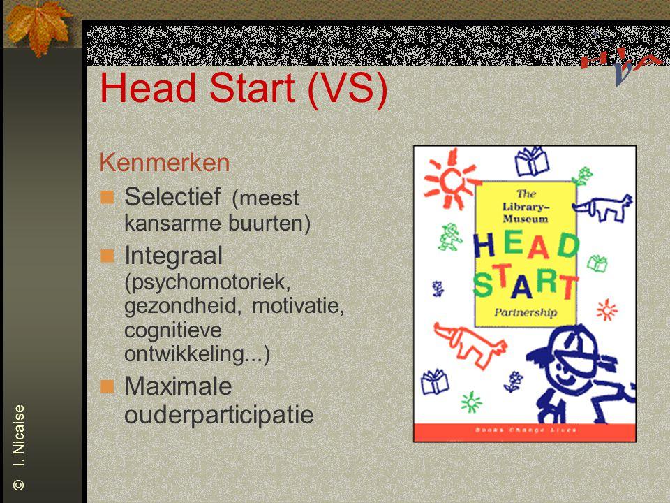 Head Start (VS) Kenmerken Selectief (meest kansarme buurten) Integraal (psychomotoriek, gezondheid, motivatie, cognitieve ontwikkeling...) Maximale ou