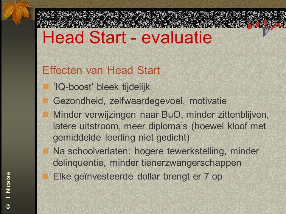 Head Start - evaluatie Effecten van Head Start ' IQ-boost' bleek tijdelijk Gezondheid, zelfwaardegevoel, motivatie Minder verwijzingen naar BuO, minde