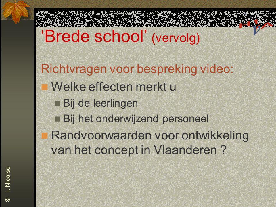 'Brede school' (vervolg) Richtvragen voor bespreking video: Welke effecten merkt u Bij de leerlingen Bij het onderwijzend personeel Randvoorwaarden vo