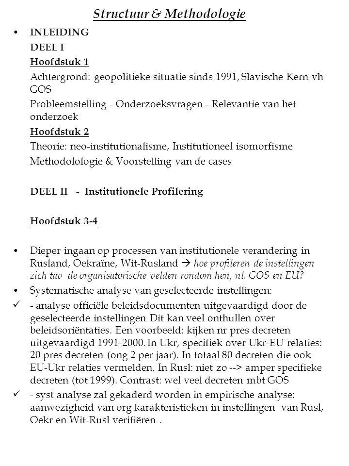 Structuur & Methodologie INLEIDING DEEL I Hoofdstuk 1 Achtergrond: geopolitieke situatie sinds 1991, Slavische Kern vh GOS Probleemstelling - Onderzoe