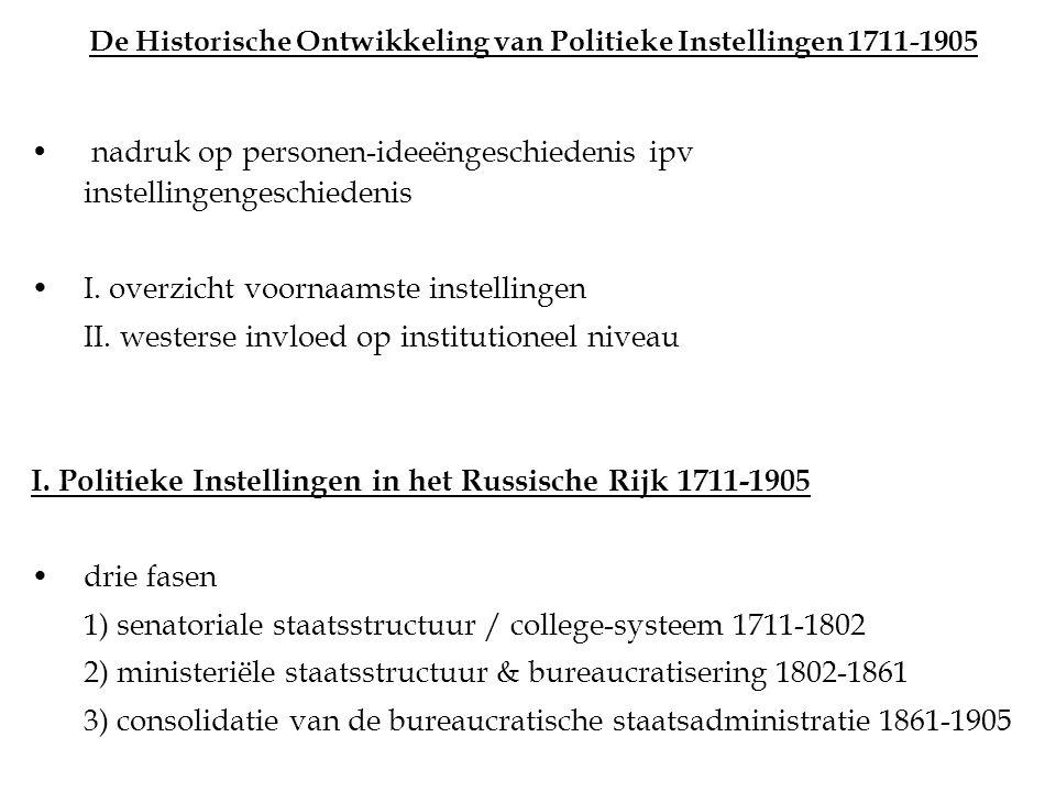De Historische Ontwikkeling van Politieke Instellingen 1711-1905 nadruk op personen-ideeëngeschiedenis ipv instellingengeschiedenis I.