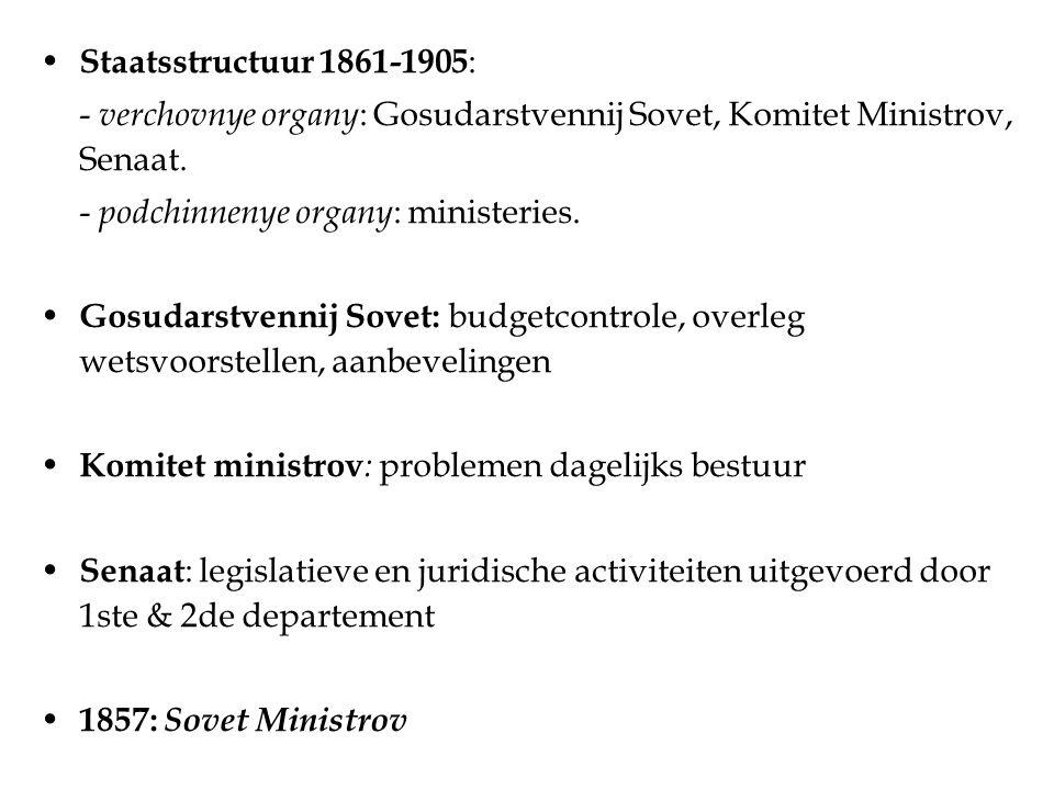 Staatsstructuur 1861-1905 : - verchovnye organy : Gosudarstvennij Sovet, Komitet Ministrov, Senaat.