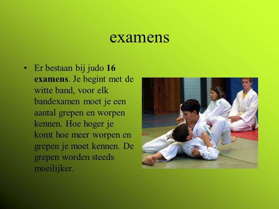 examens Er bestaan bij judo 16 examens.