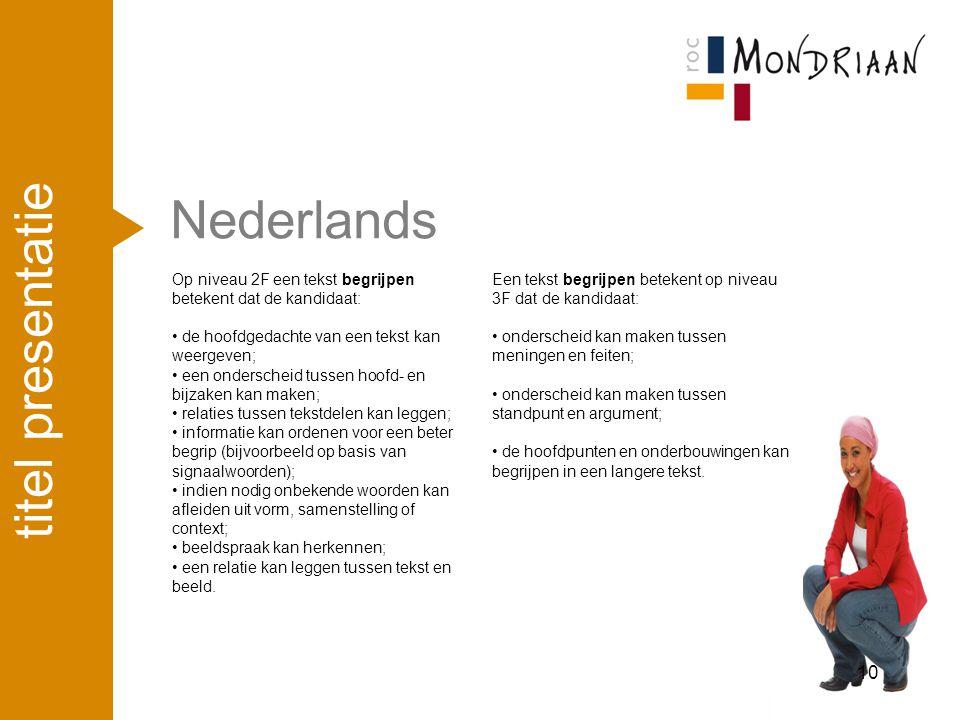 Nederlands 10 titel presentatie Op niveau 2F een tekst begrijpen betekent dat de kandidaat: de hoofdgedachte van een tekst kan weergeven; een ondersch
