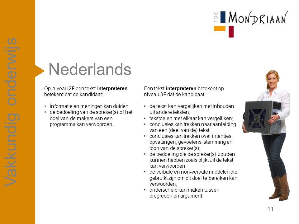 Nederlands 11 Vakkundig onderwijs Op niveau 2F een tekst interpreteren betekent dat de kandidaat: informatie en meningen kan duiden; de bedoeling van