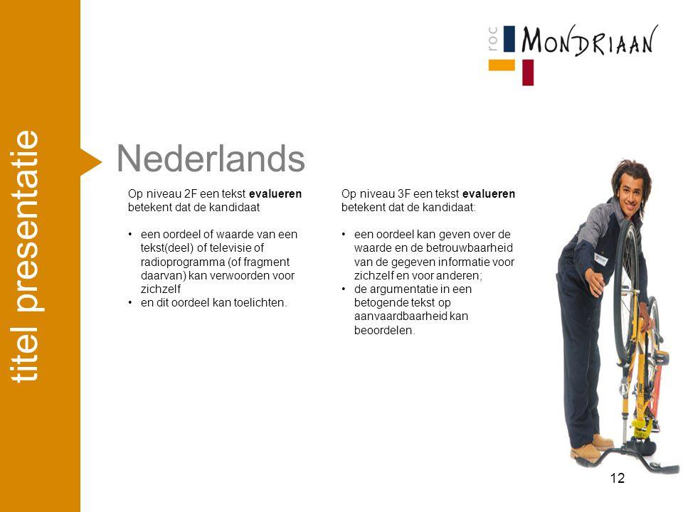Nederlands 12 titel presentatie Op niveau 2F een tekst evalueren betekent dat de kandidaat een oordeel of waarde van een tekst(deel) of televisie of r