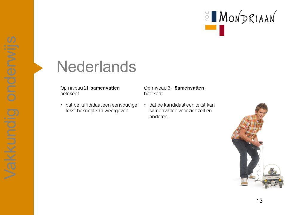 Nederlands 13 Vakkundig onderwijs Op niveau 2F samenvatten betekent dat de kandidaat een eenvoudige tekst beknopt kan weergeven Op niveau 3F Samenvatt
