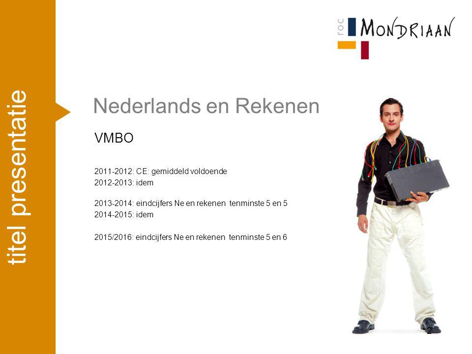 Nederlands en Rekenen VMBO 2011-2012: CE: gemiddeld voldoende 2012-2013: idem 2013-2014: eindcijfers Ne en rekenen tenminste 5 en 5 2014-2015: idem 20