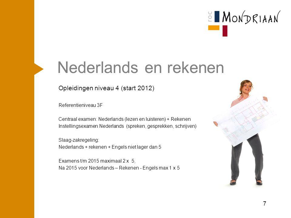 Nederlands en rekenen Opleidingen niveau 4 (start 2012) Referentieniveau 3F Centraal examen: Nederlands (lezen en luisteren) + Rekenen Instellingsexam