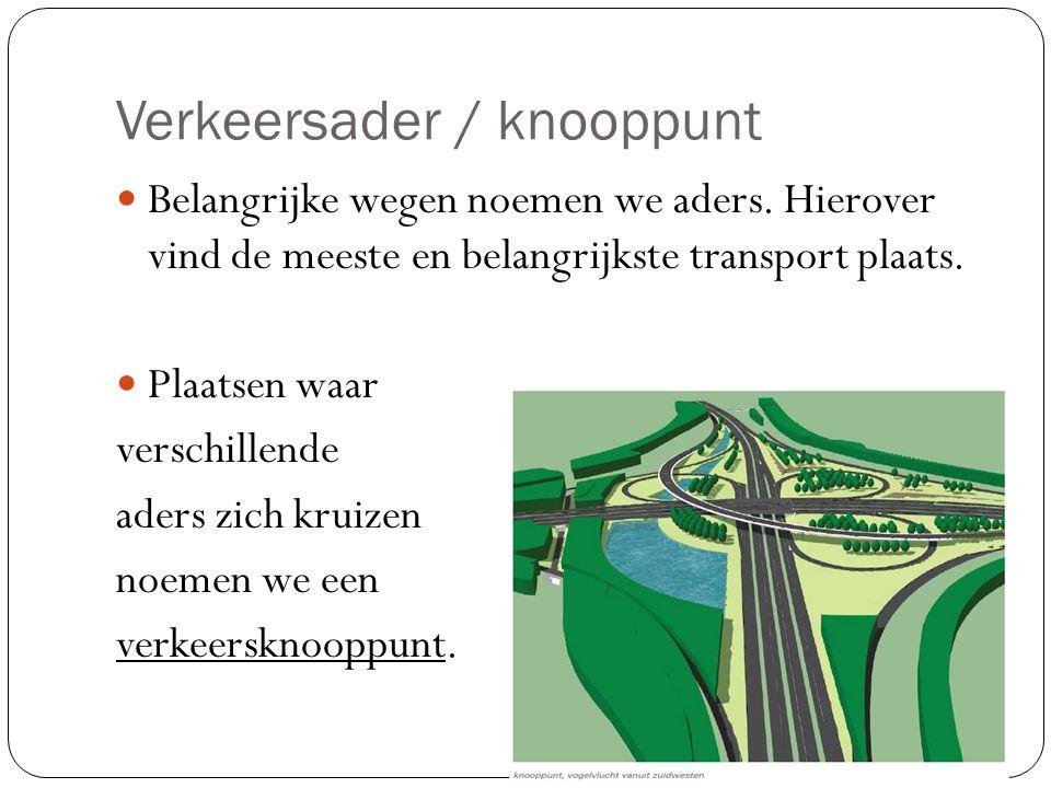 Verkeersader / knooppunt Belangrijke wegen noemen we aders.