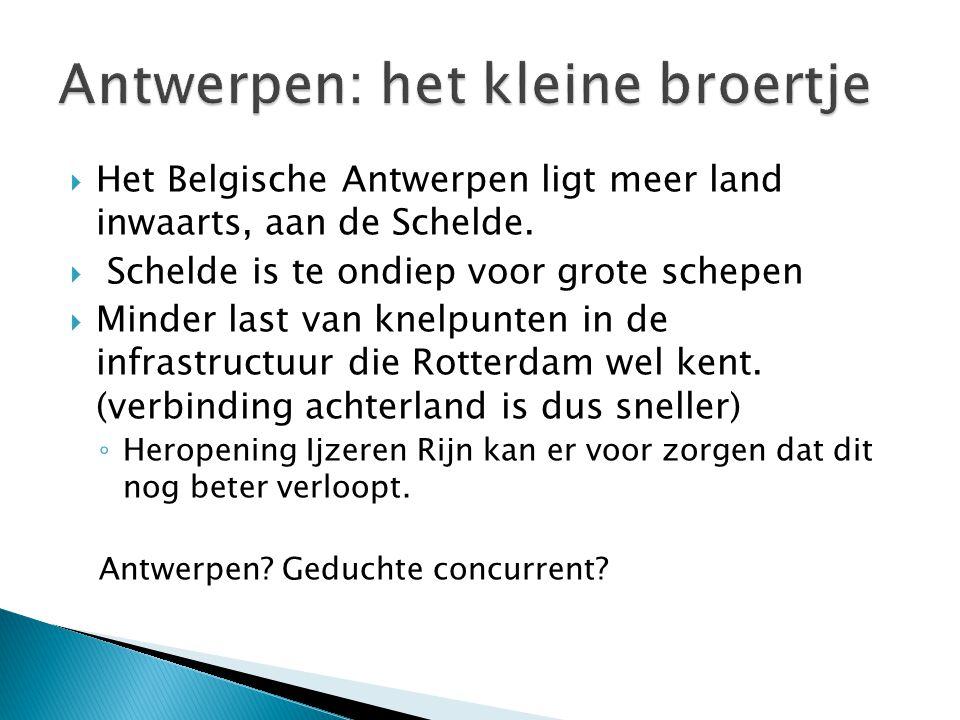  Het Belgische Antwerpen ligt meer land inwaarts, aan de Schelde.  Schelde is te ondiep voor grote schepen  Minder last van knelpunten in de infras