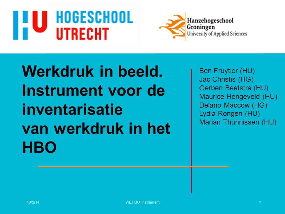 Werkdruk in beeld. Instrument voor de inventarisatie van werkdruk in het HBO Ben Fruytier (HU) Jac Christis (HG) Gerben Beetstra (HU) Maurice Hengevel