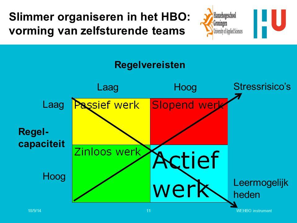 WEHBO instrument11 Slimmer organiseren in het HBO: vorming van zelfsturende teams Regelvereisten LaagHoog Laag Hoog Regel- capaciteit Stressrisico's L