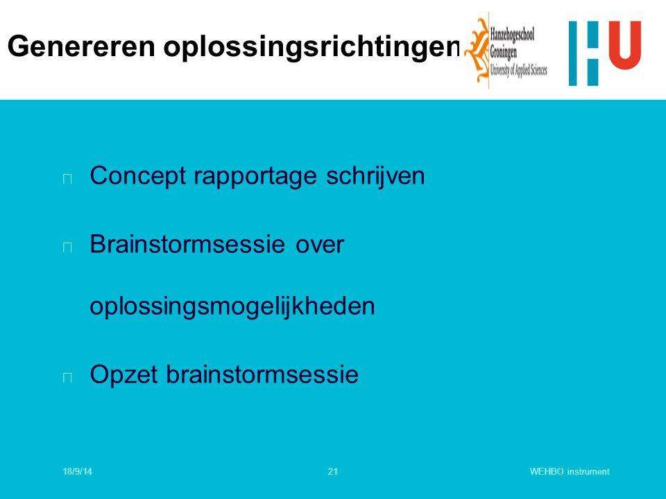 WEHBO instrument21 n Concept rapportage schrijven n Brainstormsessie over oplossingsmogelijkheden n Opzet brainstormsessie Genereren oplossingsrichtin