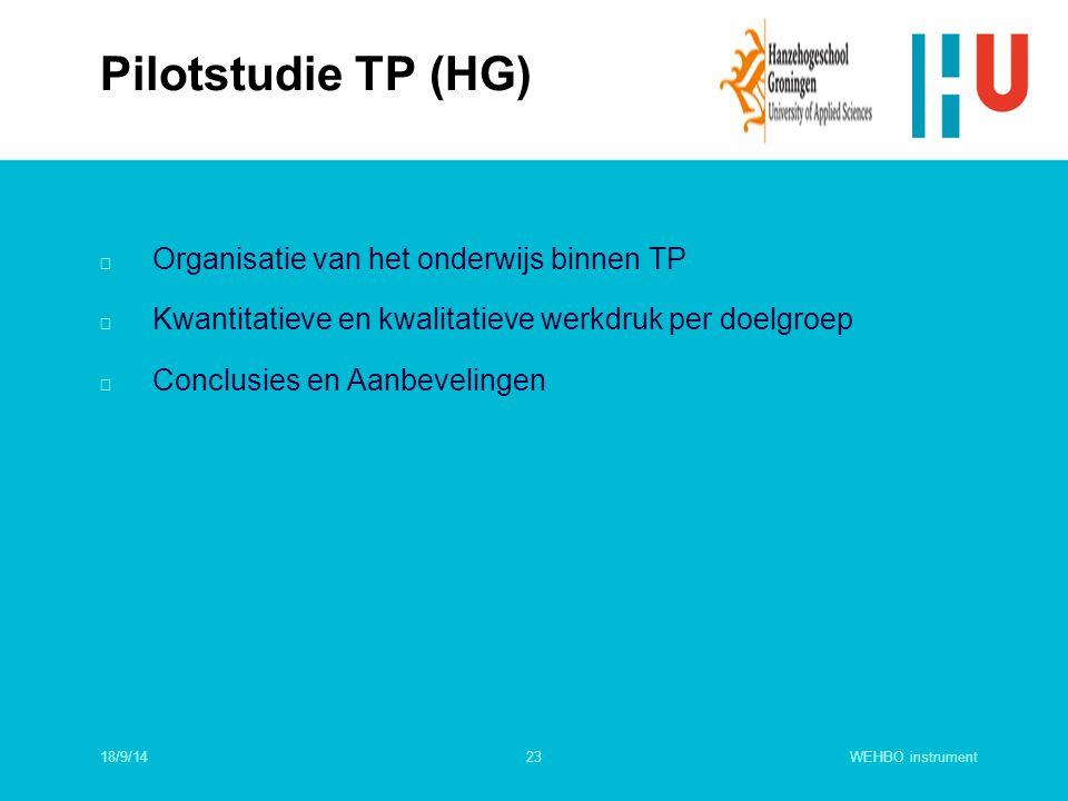 WEHBO instrument23 n Organisatie van het onderwijs binnen TP n Kwantitatieve en kwalitatieve werkdruk per doelgroep n Conclusies en Aanbevelingen Pilo