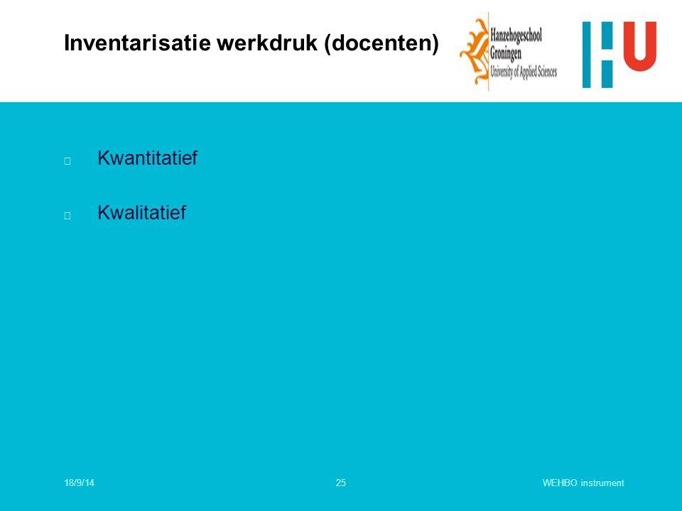 WEHBO instrument25 n Kwantitatief n Kwalitatief Inventarisatie werkdruk (docenten) 18/9/14