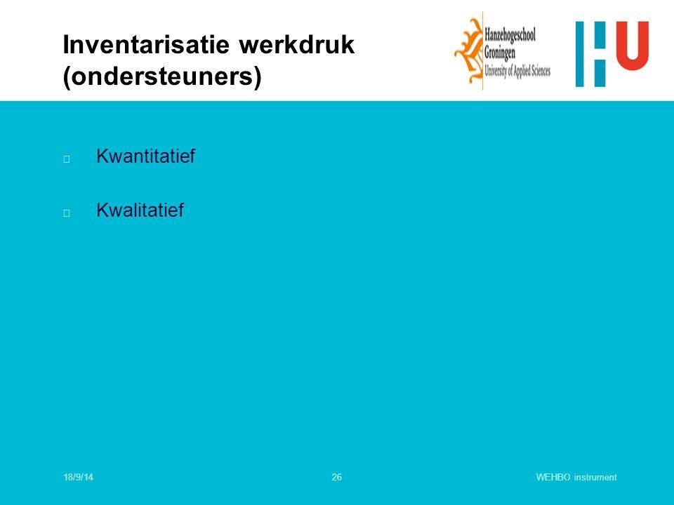 WEHBO instrument26 n Kwantitatief n Kwalitatief Inventarisatie werkdruk (ondersteuners) 18/9/14