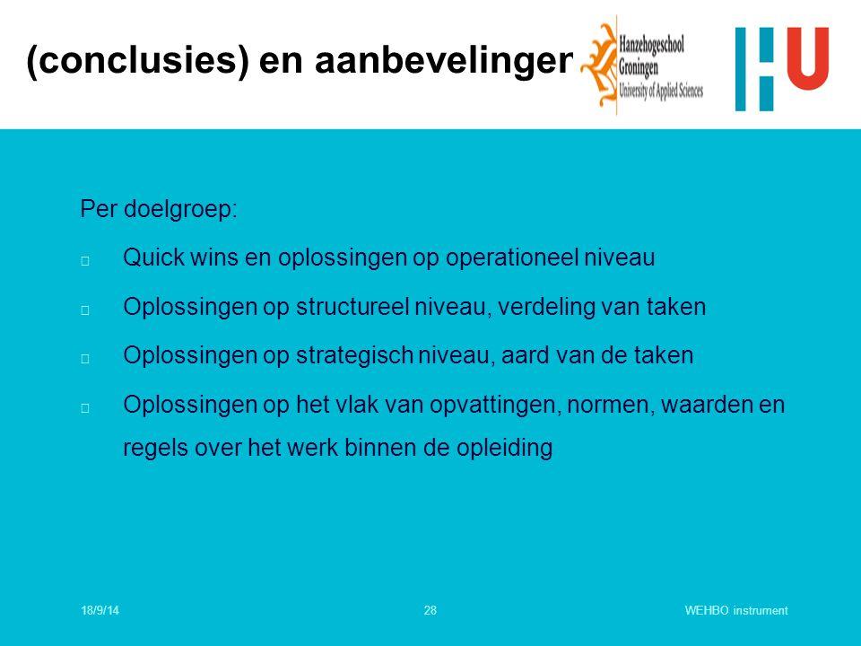 WEHBO instrument28 Per doelgroep: n Quick wins en oplossingen op operationeel niveau n Oplossingen op structureel niveau, verdeling van taken n Oploss