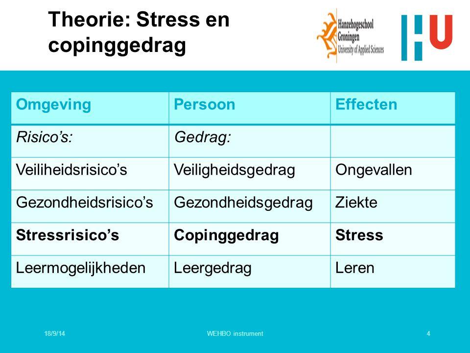 Theorie: Stress en copinggedrag OmgevingPersoonEffecten Risico's:Gedrag: Veiliheidsrisico'sVeiligheidsgedragOngevallen Gezondheidsrisico'sGezondheidsg