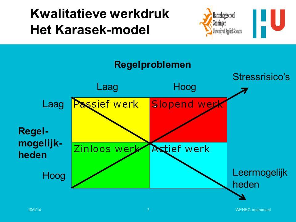 18/9/14WEHBO instrument7 Kwalitatieve werkdruk Het Karasek-model Regelproblemen LaagHoog Laag Hoog Regel- mogelijk- heden Stressrisico's Leermogelijk