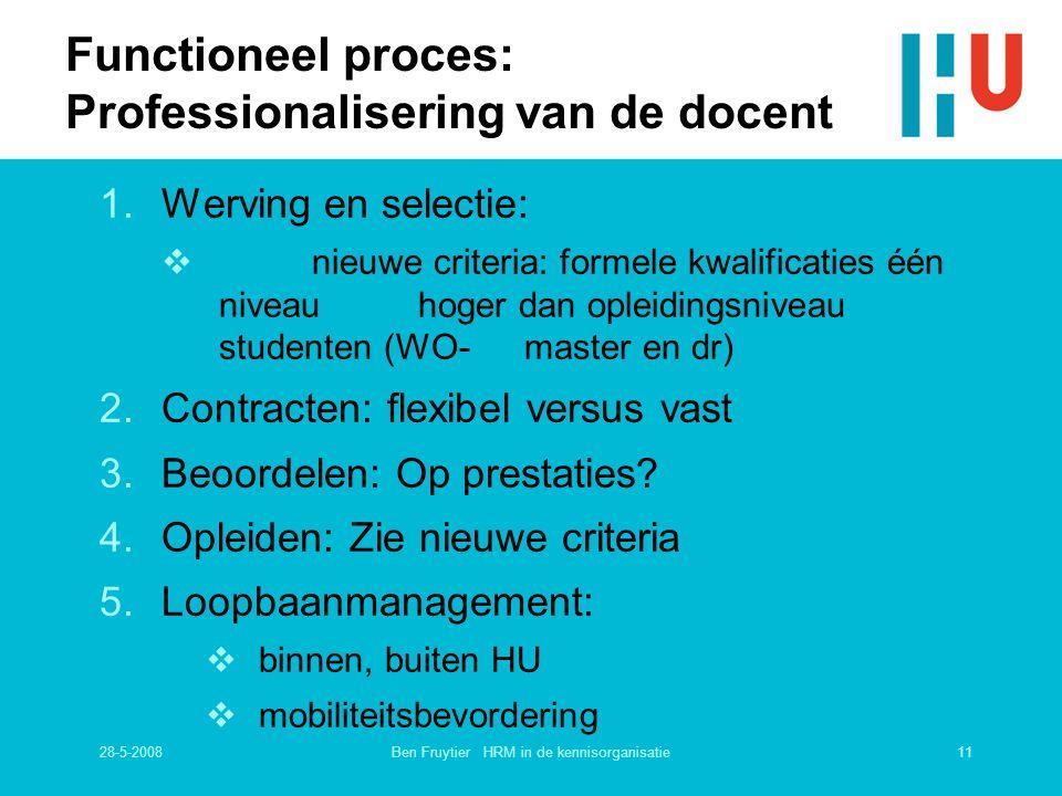 28-5-200811Ben Fruytier HRM in de kennisorganisatie Functioneel proces: Professionalisering van de docent 1.Werving en selectie:  nieuwe criteria: fo
