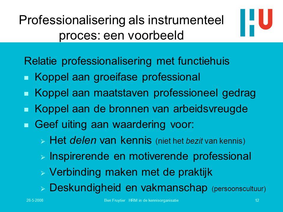 28-5-200812Ben Fruytier HRM in de kennisorganisatie Professionalisering als instrumenteel proces: een voorbeeld Relatie professionalisering met functi