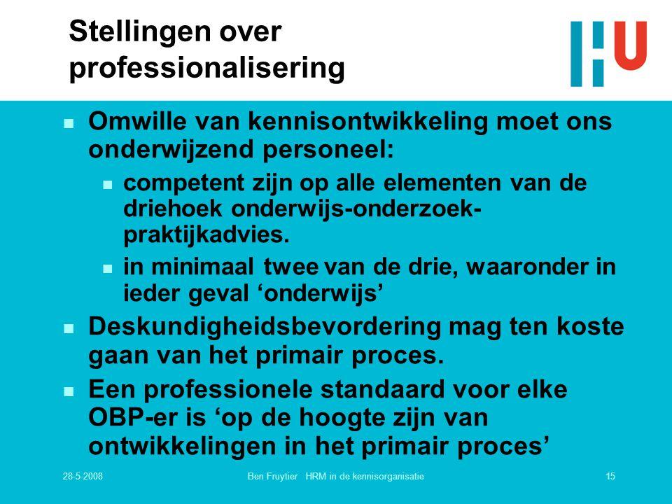 28-5-200815Ben Fruytier HRM in de kennisorganisatie Stellingen over professionalisering n Omwille van kennisontwikkeling moet ons onderwijzend persone