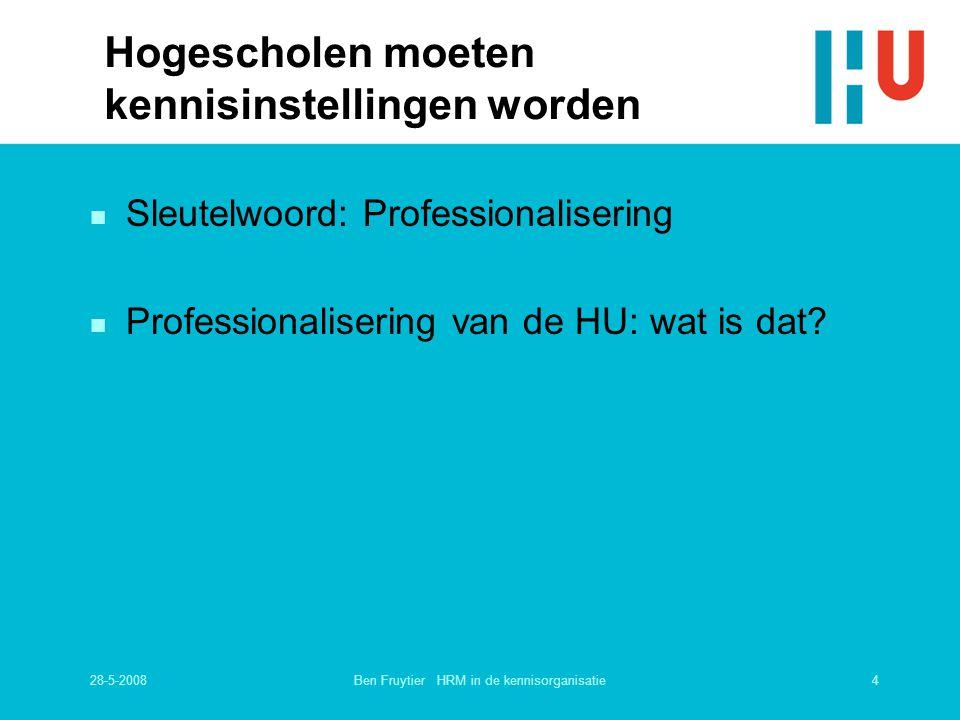 28-5-20084Ben Fruytier HRM in de kennisorganisatie Hogescholen moeten kennisinstellingen worden n Sleutelwoord: Professionalisering n Professionaliser
