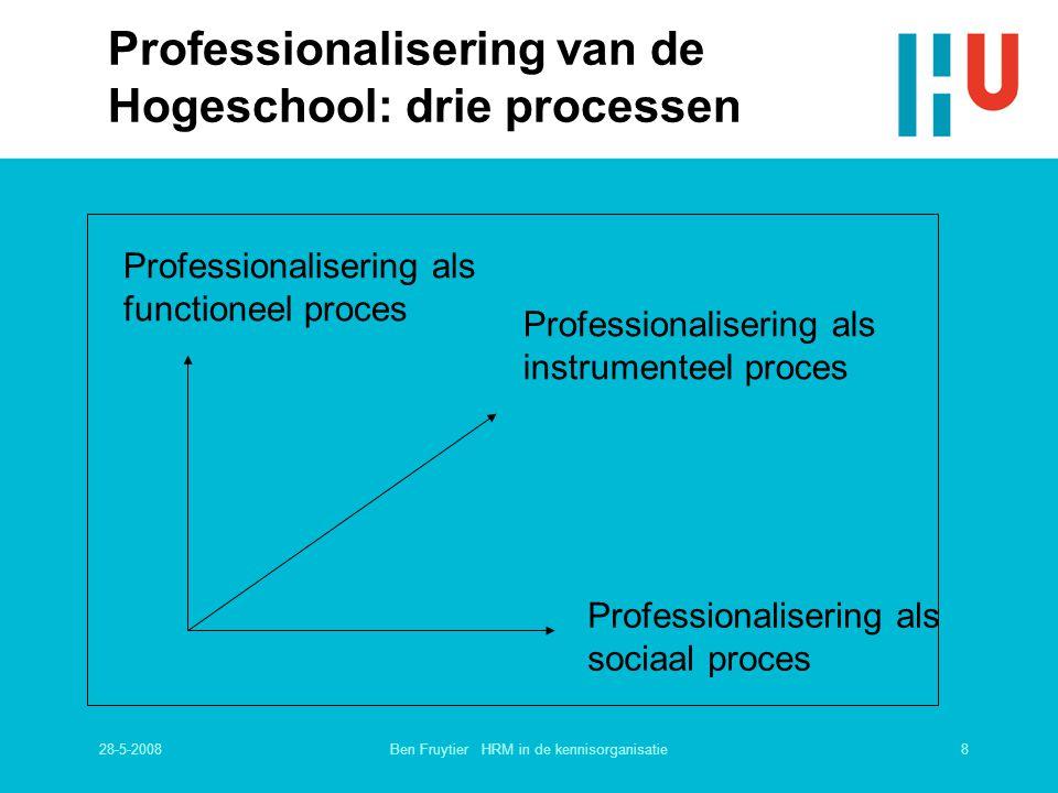 28-5-20088Ben Fruytier HRM in de kennisorganisatie Professionalisering van de Hogeschool: drie processen Professionalisering als sociaal proces Profes