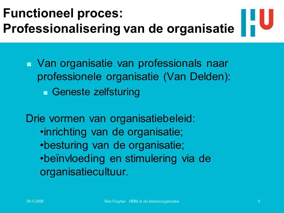 28-5-20089Ben Fruytier HRM in de kennisorganisatie Functioneel proces: Professionalisering van de organisatie n Van organisatie van professionals naar