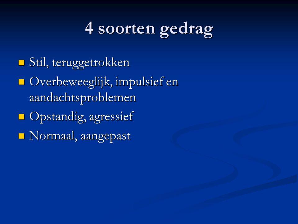 4 soorten gedrag Stil, teruggetrokken Stil, teruggetrokken Overbeweeglijk, impulsief en aandachtsproblemen Overbeweeglijk, impulsief en aandachtsproblemen Opstandig, agressief Opstandig, agressief Normaal, aangepast Normaal, aangepast
