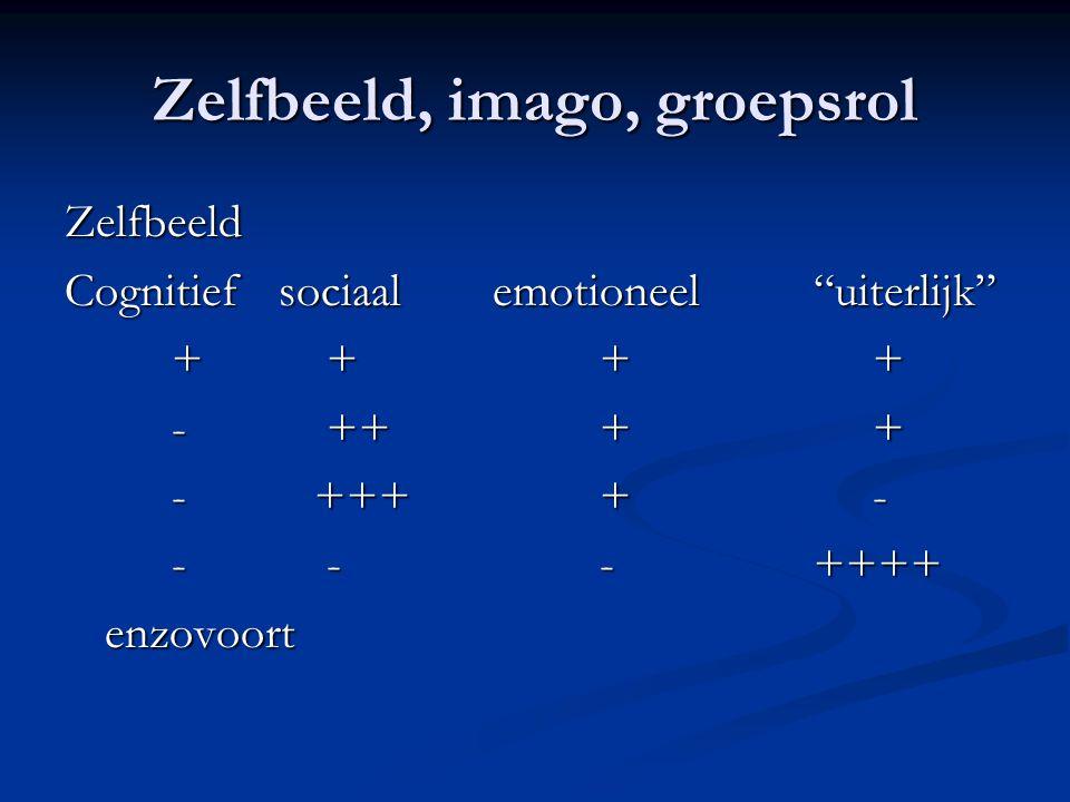 Zelfbeeld, imago, groepsrol Zelfbeeld Cognitiefsociaalemotioneel uiterlijk + ++ + - +++ + - ++++ - - --++++ enzovoort