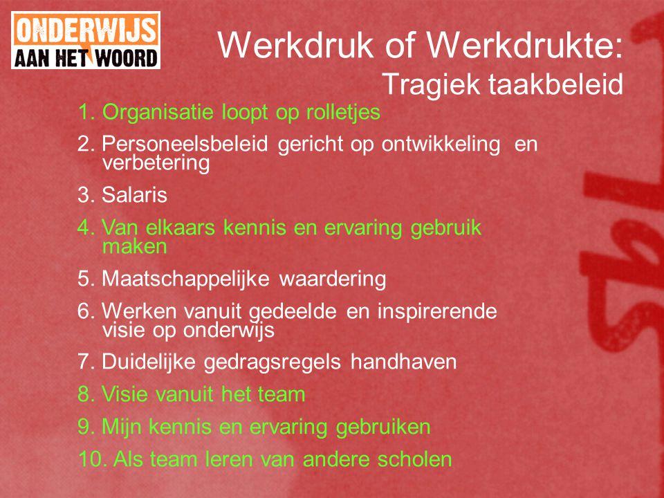 Werkdruk of Werkdrukte: Tragiek taakbeleid 1. Organisatie loopt op rolletjes 2.