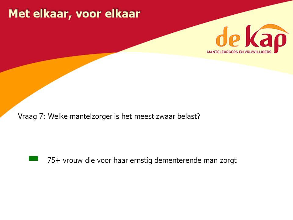 Vraag 7: Welke mantelzorger is het meest zwaar belast.