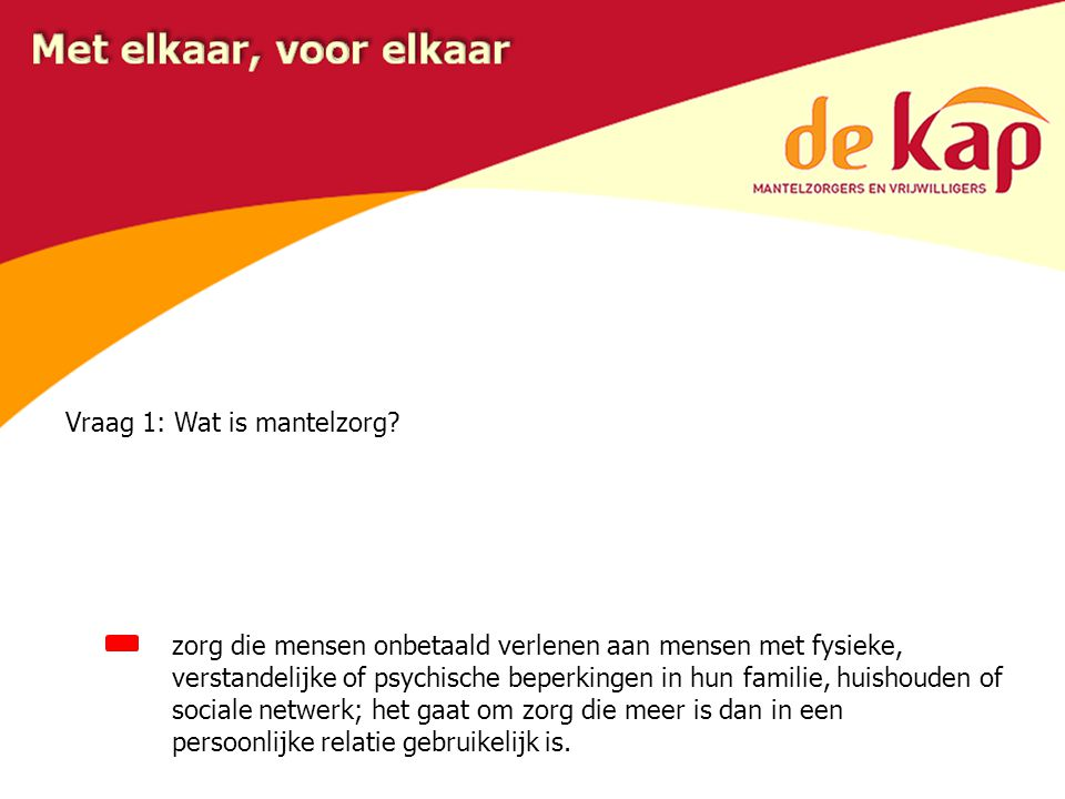 Vraag 2: Hoeveel mantelzorgers zijn er in Nederland? 1,1 miljoen 2,6 miljoen 3,5 miljoen