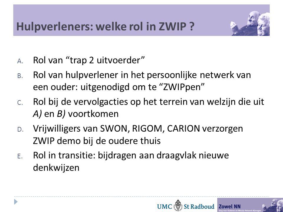 Hulpverleners: welke rol in ZWIP .A. Rol van trap 2 uitvoerder B.