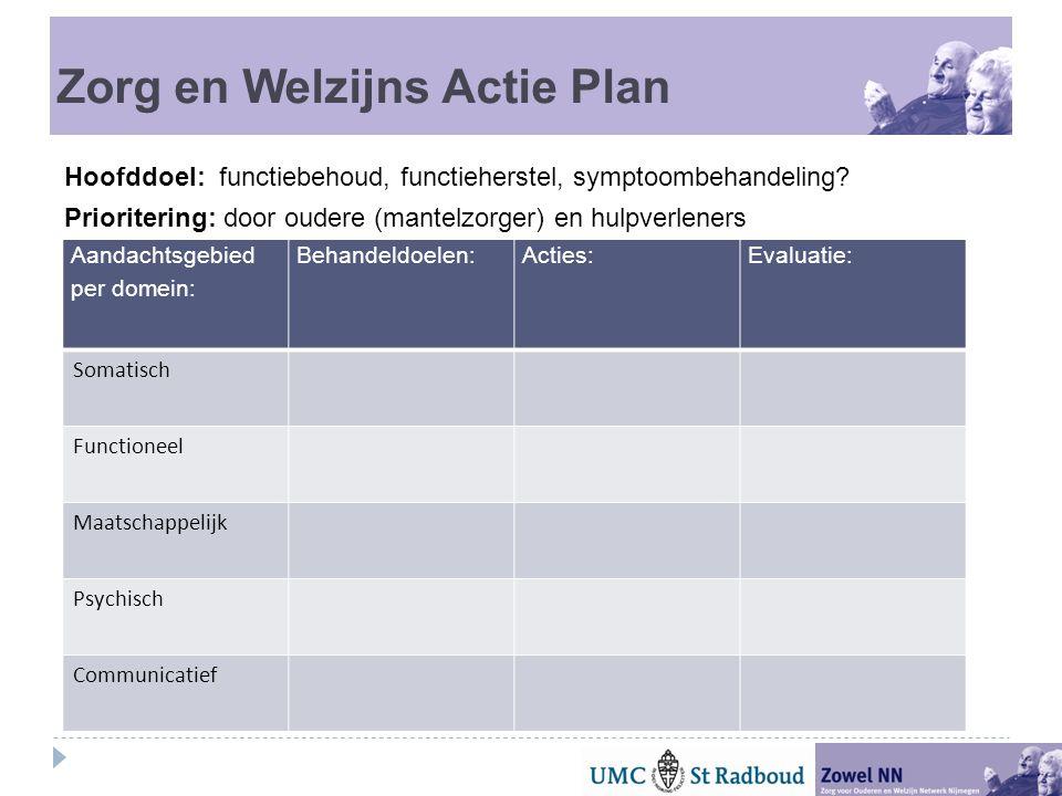 Zorg en Welzijns Actie Plan Hoofddoel: functiebehoud, functieherstel, symptoombehandeling.