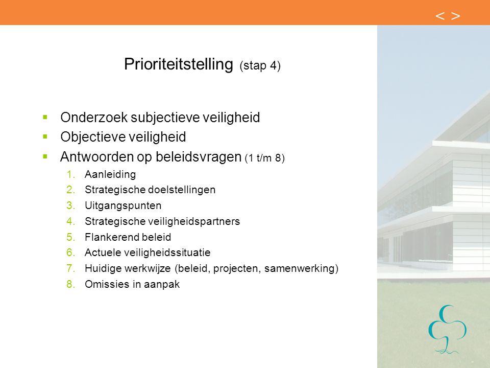 Prioriteitstelling (stap 4)  Onderzoek subjectieve veiligheid  Objectieve veiligheid  Antwoorden op beleidsvragen (1 t/m 8) 1.Aanleiding 2.Strategi