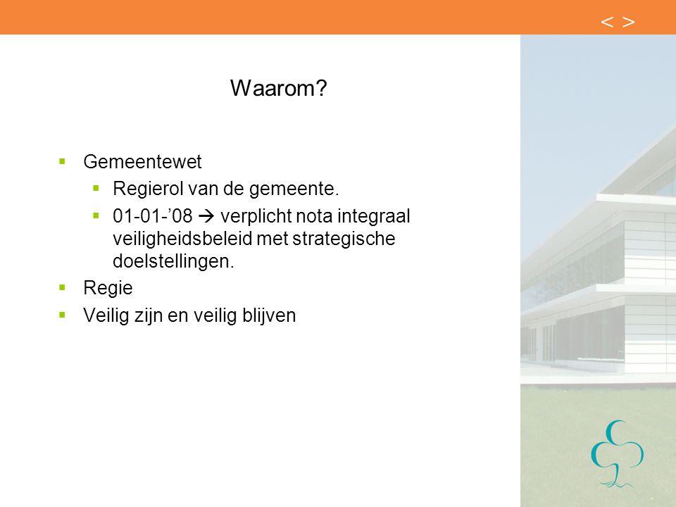Waarom?  Gemeentewet  Regierol van de gemeente.  01-01-'08  verplicht nota integraal veiligheidsbeleid met strategische doelstellingen.  Regie 