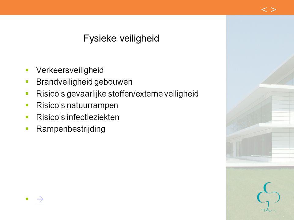 Fysieke veiligheid  Verkeersveiligheid  Brandveiligheid gebouwen  Risico's gevaarlijke stoffen/externe veiligheid  Risico's natuurrampen  Risico'