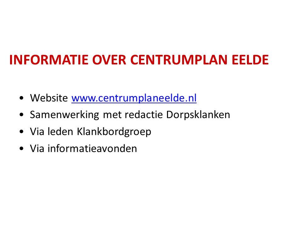 INFORMATIE OVER CENTRUMPLAN EELDE Website www.centrumplaneelde.nlwww.centrumplaneelde.nl Samenwerking met redactie Dorpsklanken Via leden Klankbordgro