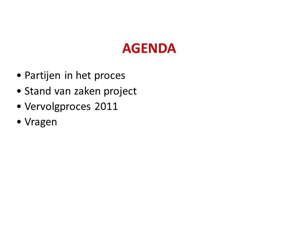 AGENDA Partijen in het proces Stand van zaken project Vervolgproces 2011 Vragen