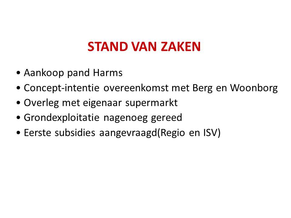STAND VAN ZAKEN Aankoop pand Harms Concept-intentie overeenkomst met Berg en Woonborg Overleg met eigenaar supermarkt Grondexploitatie nagenoeg gereed
