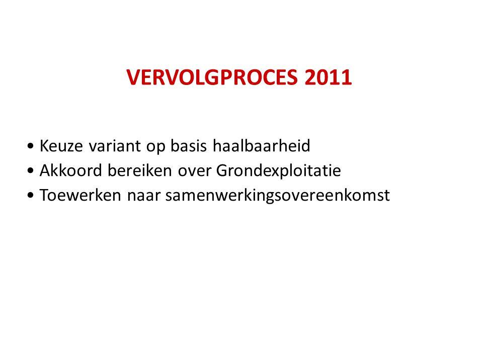 VERVOLGPROCES 2011 Keuze variant op basis haalbaarheid Akkoord bereiken over Grondexploitatie Toewerken naar samenwerkingsovereenkomst