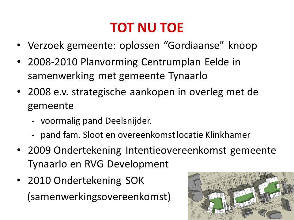 "TOT NU TOE Verzoek gemeente: oplossen ""Gordiaanse"" knoop 2008-2010 Planvorming Centrumplan Eelde in samenwerking met gemeente Tynaarlo 2008 e.v. strat"