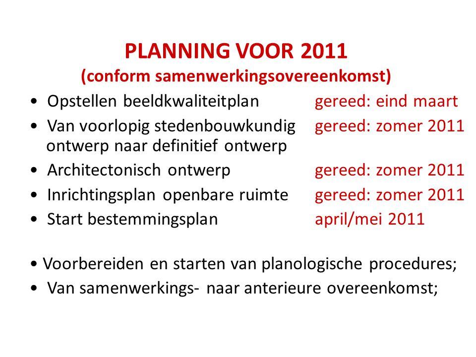 PLANNING VOOR 2011 (conform samenwerkingsovereenkomst) Opstellen beeldkwaliteitplangereed: eind maart Van voorlopig stedenbouwkundiggereed: zomer 2011